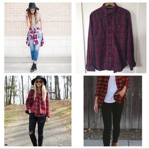 Plaid Button Down Shirt Cotton Top Oversized Large